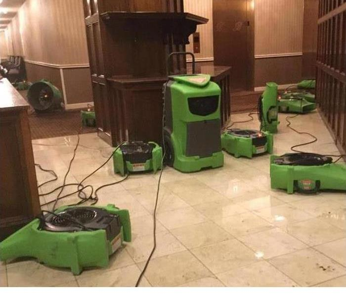 Air movers in hotel lobby