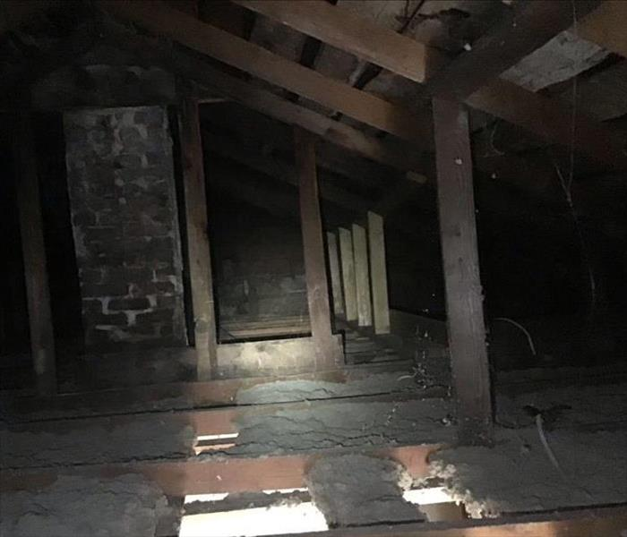 Fire Damage in Attic