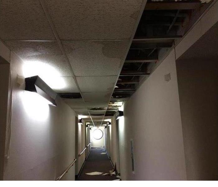 Picture of hallway damaged by fire