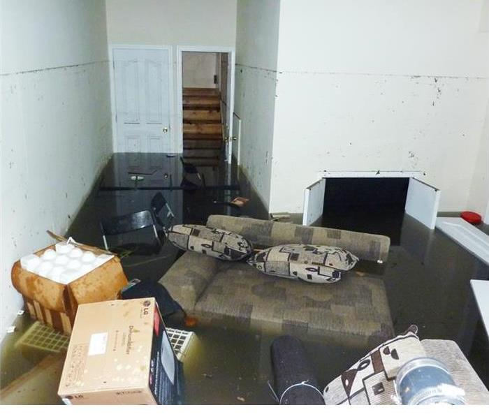 Living room damaged by fire